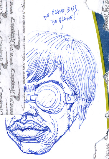 Doodle on an envelope that kind of looks like Hervé Villechaize