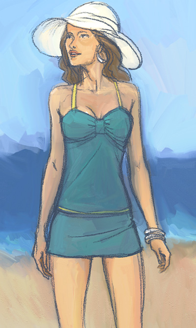 Fashion Mannequin Drawing on Hindsight    Fashion Drawing 2     Bathing Suit Model