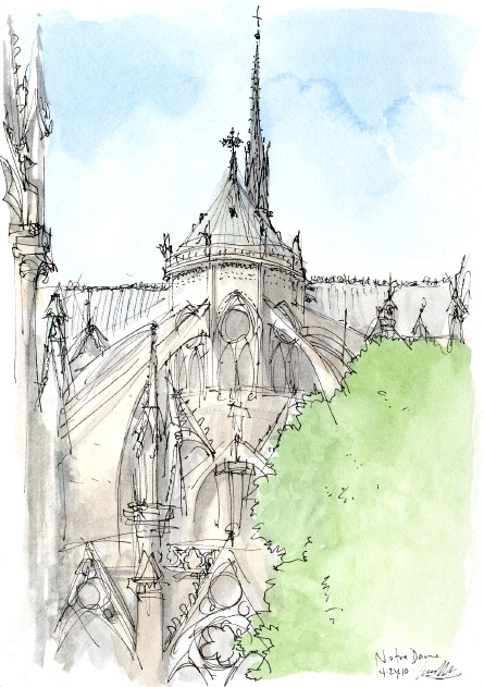 Drawing of Notre Dame by Gareth Hinds