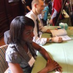 Annabell sits patiently while I sign books after the ceremony