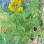 A brief break from gouache on paper,  to paint the garden sunflowers with acrylic on canvas